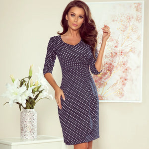 255-1 Polka-dot Wrap Style Mini Dress In Navy