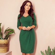 255-2 Wrap Style Knee-Length Dress In Green
