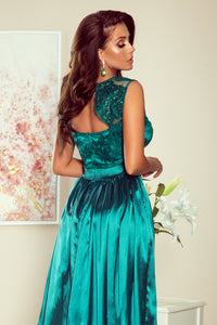 256-1 Satin Slit Maxi Dress with Embroidered Lace Bodice & Cut out Back In Green