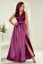 NEW 256-2 Purple Satin Slit Maxi Dress with Embroidered Lace Bodice & Cut out Back