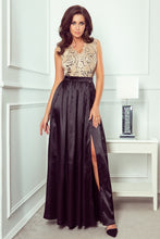 NEW 256-4 Black/Beige Red Satin Slit Maxi Dress with Embroidered Lace Bodice & Cut out Back