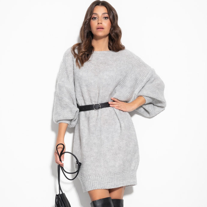 F1105 Oversized Knitted Jumper Mini Dress In Grey