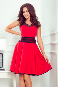 261-1 Skater Mini Dress with Sides Pockets In Red