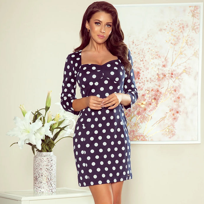263-1 Polka-dot Mini Dress In Navy