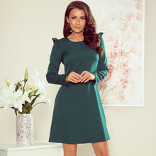 264-1 Trapeze Mini Dress with Frill In Green