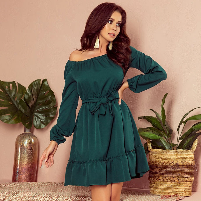 265-1 Ruffle Hem Belted Mini Dress In Green