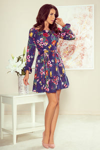 265-2 Floral Print Ruffle Belted Mini Dress In Navy Blue