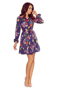 265-2 Floral Print Ruffle Hem Belted Mini Dress In Navy