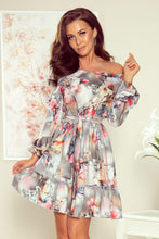 265-3 Floral Print Ruffle Hem Belted Mini Dress In Gray