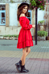 265-4 Ruffle Hem Belted Mini Dress In Red
