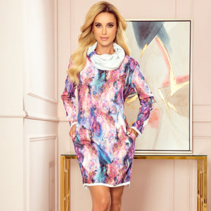282-2 Marble Print Mini Dress with Pockets In Pink-Blue