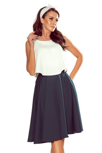 266-1 Flared Midi Skirt with Pockets In Green