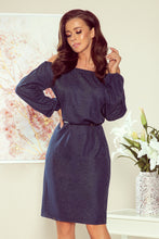 NEW 270-1 Navy/Silver Off The Shoulder Dress with Belt