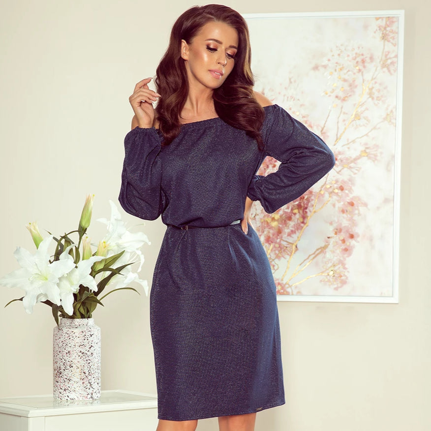 270-1 Off The Shoulder Glitter Mini Dress with Belt & Pockets Navy/Silver