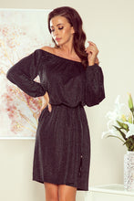 NEW 270-2 Black/Silver Off The Shoulder Dress with Belt & Pockets