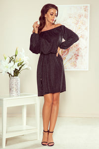 270-2 Off The Shoulder Glitter Mini Dress with Belt & Pockets In Black/Silver
