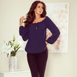 271-1 Off The Shoulder Blouse In Navy