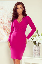 NEW 272-1 Fuchsia Wrap effect Dress