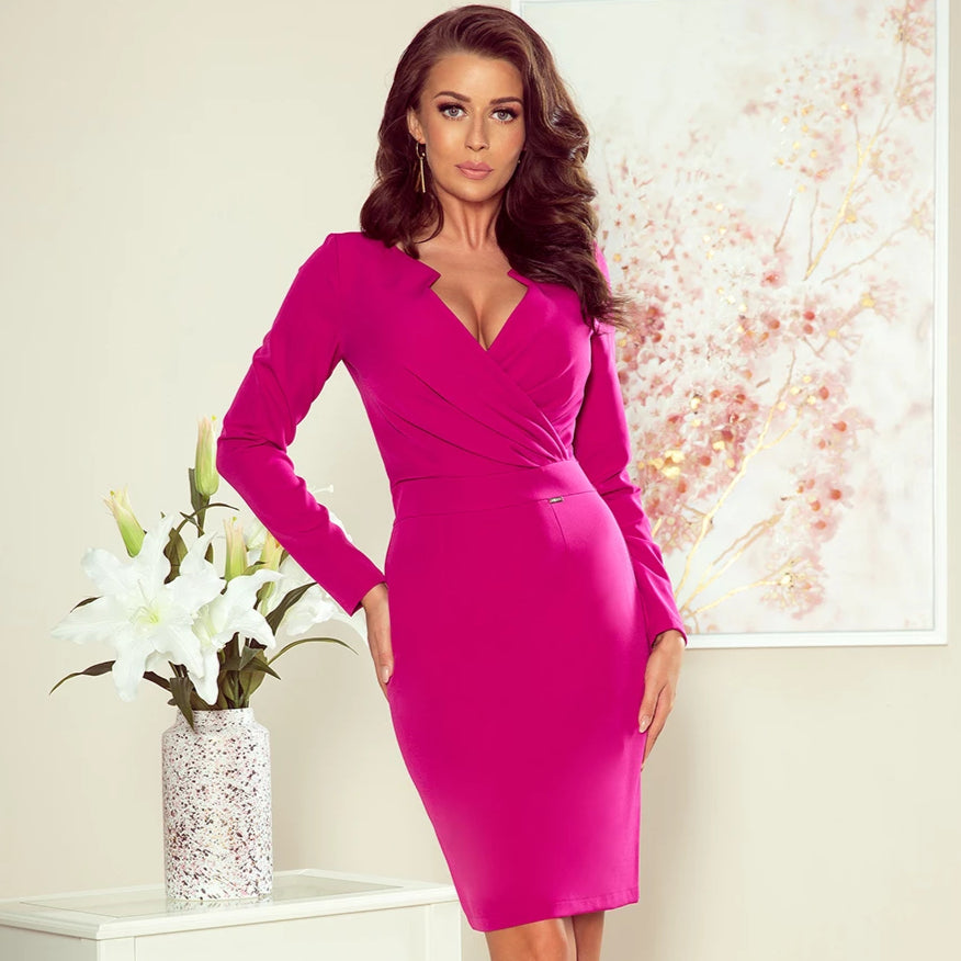 272-1 Wrap Detailing Mini Dress In Fuchsia