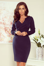 NEW 272-2 Navy Wrap effect Dress