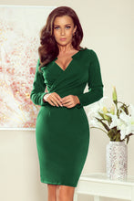272-3 Green Wrap effect Knee-Length Dress