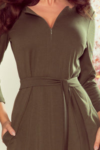 273-1 Belted Zip-Front Mini Dress with Pockets In Khaki