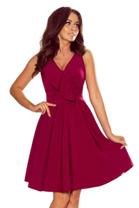274-1 Fit & Flare Knee-Length Dress with Frill In Burgundy