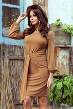 NEW 275-1 Brown Tie Waist Dress