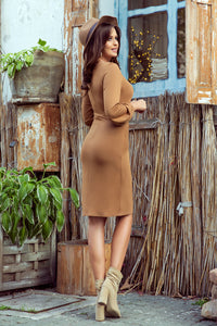 275-1 Tie Waist Mini Dress In Brown