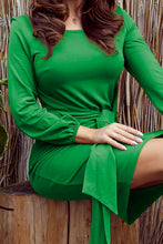 275-4 Tie Waist Mini Dress In Green