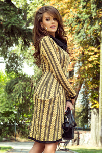277-1 Cowl Neck Jacquard Dress with Hips pockets In Yellow/Black