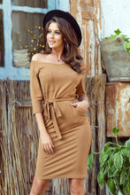 278-3 Brown Belted Knee-Length Dress with Pockets