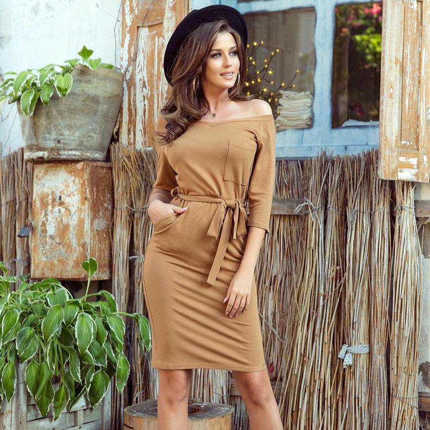 278-3 Belted Mini Dress with Pockets In Brown