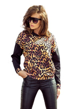 279-1 Leo Print Overhead Hoodie with Kangaroo Pocket In Brown/Black