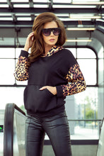 279-2 Black/Brown Leo Print Overhead Hoodie with Kangaroo Pocket
