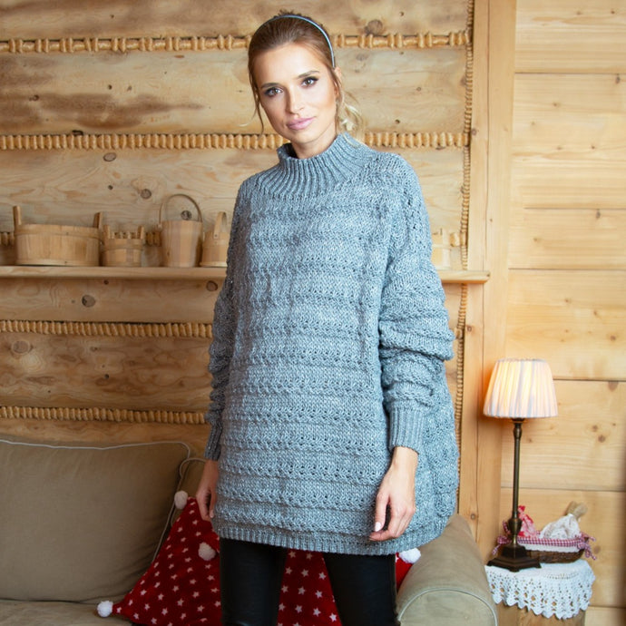 F610 High-Neck Alpaca-Blend Glitter Oversize Sweater In Grey