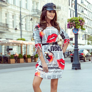 281-1 Newspaper Print Shift Mini Dress with Pockets In White/Black