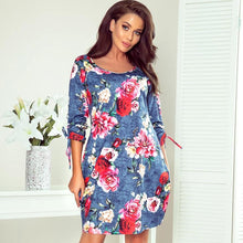 281-2 Floral Print Shift Mini Dress with Pockets In Blue