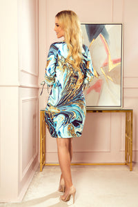 281-3 Waves Print Shift Mini Dress with Pockets In Blue
