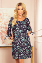 281-4 Floral Print Shift Mini Dress with Pockets In Navy