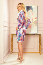 282-2 Cowl Neck Mini Dress with Pockets In Pink-Blue Marble Print