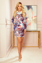 282-3 Cowl Neck Mini Dress with Pockets In Blue-Red Oriental Print