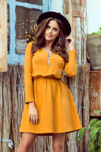 283-1 Zip-Front Cotton Mini Dress In Mustard
