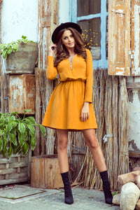 283-1 Zip-Front Flare Cotton Mini Dress In Mustard