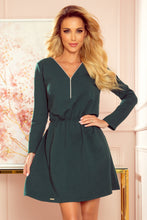 283-2 Zip-Front Flare Cotton Mini Dress In Bottle Green