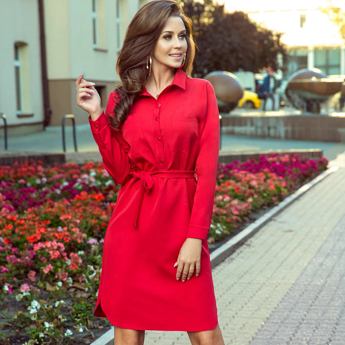 284-1 Shirt Knee-Length Shirt Dress In Red
