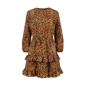 285-1 Leopard Print Ruffle Mini Dress In Brown