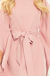 287-11 Butterfly Style Belted Mini Dress in Dusty Pink