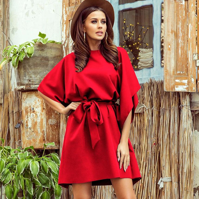 287-3 Butterfly Style Belted Mini Dress In Red
