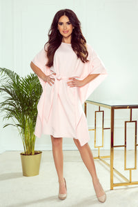 287-4 Butterfly Style Belted Mini Dress In Pink